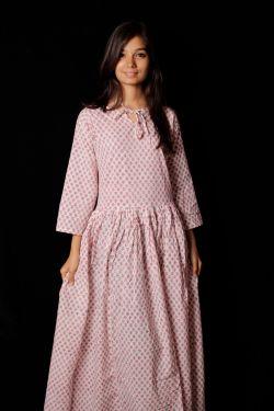 Hand Block Printed Floral Dress - SH-HBPD-W-038