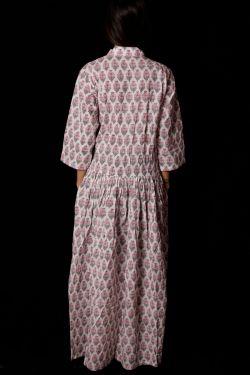 Hand Block Printed Floral Dress - SH-HBPD-W-039