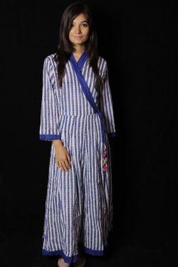 Blue Striped Block Printed Cotton Kimono Pattern Dress - SH-HBPD-W-043