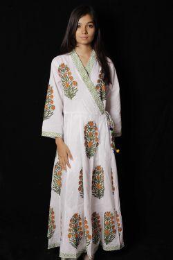 Yellow Mughal Floral Block Printed Cotton Kimono Pattern Dress - SH-HBPD-W-044