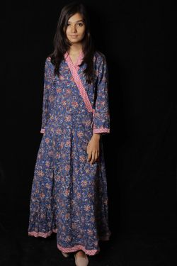 Blue Floral Block Printed Dress - SH-HBPD-W-045