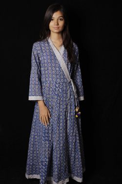 Blue Geometrical Block Print Dress - SH-HBPD-W-047