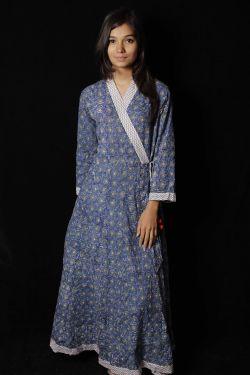 Blue Floral Block Printed Dress - SH-HBPD-W-050