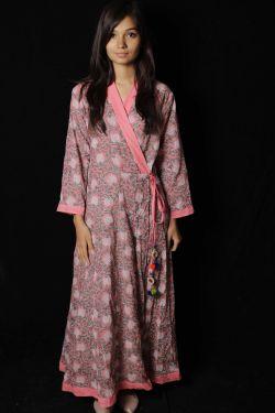 Pink Floral Block Printed Dress - SH-HBPD-W-051