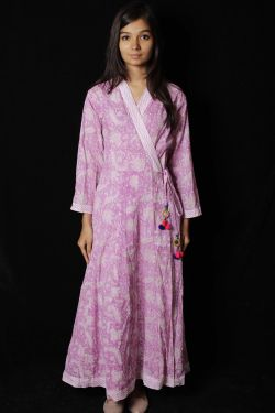 Red Violet Floral Block Printed Dress - SH-HBPD-W-058