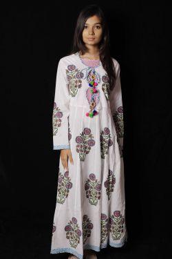 Pink Mughal Floral Block Printed Dress - SH-HBPD-W-059