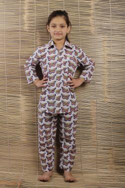 Butterfly Block Printed Night Wear - SH-HBPNS-G-018