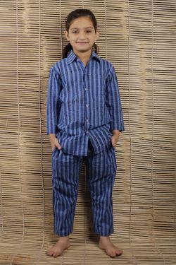 Striped Block Printed Night Wear - SH-HBPNS-G-025
