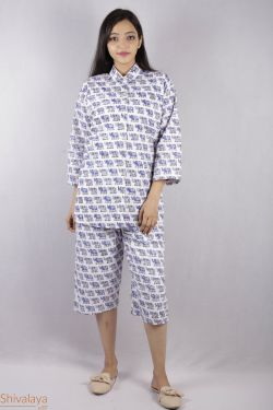 Elephant Block Printed Night Suit - SH-HBPNS-W-001