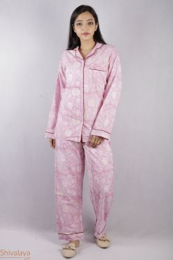 Floral Block Printed Night Suit - SH-HBPNS-W-003