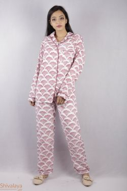 Floral Block Printed Night Suit - SH-HBPNS-W-004