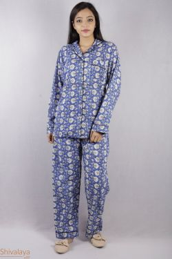 Floral Block Printed Night Suit - SH-HBPNS-W-005