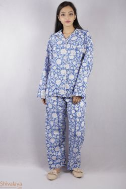 Floral Block Printed Night Suit - SH-HBPNS-W-008