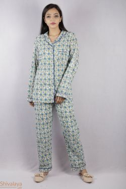 Floral Block Printed Night Suit - SH-HBPNS-W-009