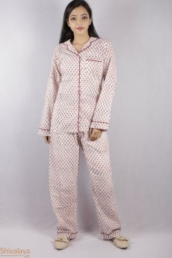 Floral Block Printed Night Suit - SH-HBPNS-W-013