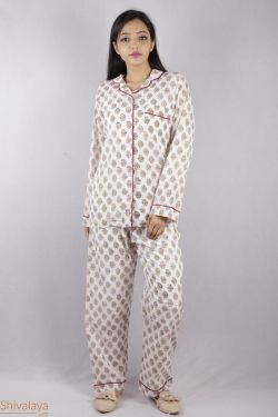 Floral Block Printed Night Suit - SH-HBPNS-W-015