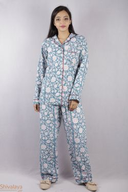 Floral Block Printed Night Suit - SH-HBPNS-W-016