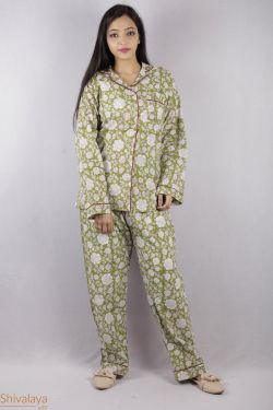 Floral Block Printed Night Suit - SH-HBPNS-W-017