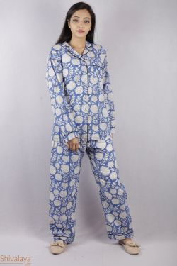 Floral Block Printed Night Suit - SH-HBPNS-W-019