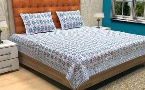 Geometrical Hand Block Printed Bed Sheet - SHJ-HBP-BCVR-001