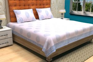 Geometrical Block Printed Bed Sheet - SHJ-HBP-BCVR-009