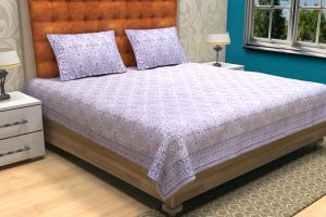 Geometrical Hand Block Printed Bed Sheet - SHJ-HBP-BCVR-014