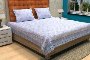 Blue Geometrical Block Printed Kantha Quilt - SHJ-HBP-KQ-033