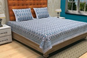 Hand Block Printed Bed Sheet - SHJ-HBP-BCVR-003