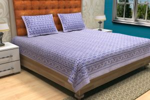 Geometrical Hand Block Printed Bed Sheet - SHJ-HBP-BCVR-006