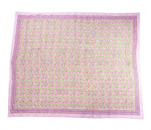 Red Violet Floral Block Print Dohar - SHJ-HBP-BQDH-079