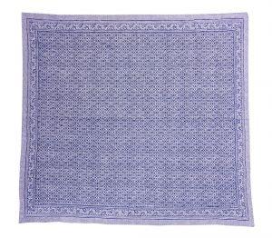 Indigo Blue Geometrical Block Printed Kantha Quilt - SHJ-HBP-KQ-026