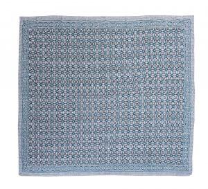 Blue Geometrical Block Printed Kantha Quilt - SHJ-HBP-KQ-027