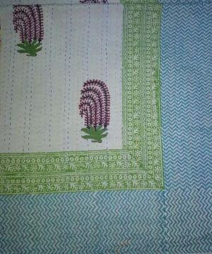 Mughal Paisley Block Printed Kantha Cotton Quilt - SHJ-HBKQ-009