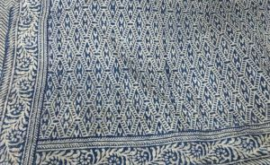 Abstract Indigo Geometrical Block Printed Kantha Cotton Quilt - SHJ-HBKQ-014