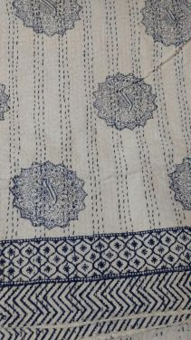 Abstract Block Printed Kantha Cotton Quilt - SHJ-HBKQ-010