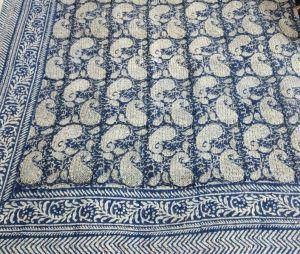Abstract Paisley Block Printed Kantha Cotton Quilt - SHJ-HBKQ-012
