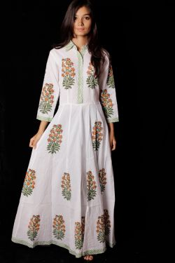 Hand Block Printed Floral Dress - SH-HBPD-W-002