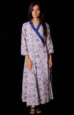 Hand Block Printed Angrakha Pattern Dress - SH-HBPD-W-005