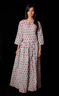 Hand Block Printed Floral Dress - SH-HBPD-W-008