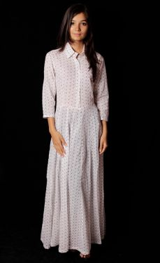 Hand Block Printed Polka Dot Dress - SH-HBPD-W-009