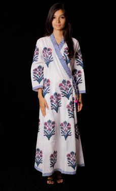 Hand Block Printed Kimono Pattern Dress - SH-HBPD-W-010