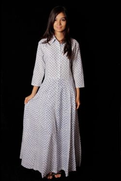 Hand Block Printed Polka Dot Dress - SH-HBPD-W-011