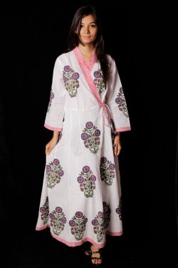 Hand Block Printed Floral Kimono Pattern Dress - SH-HBPD-W-014