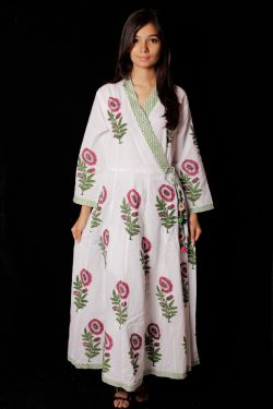 Hand Block Printed Floral Kimono Pattern Dress - SH-HBPD-W-015