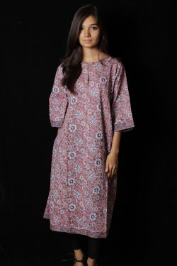Hand Block Printed Floral Mid Dress - SH-HBPD-W-020
