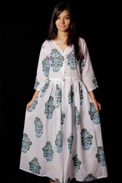 Hand Block Printed Floral Dress - SH-HBPD-W-021