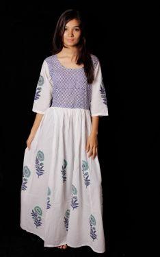 Hand Block Printed Floral Motif Dress - SH-HBPD-W-022