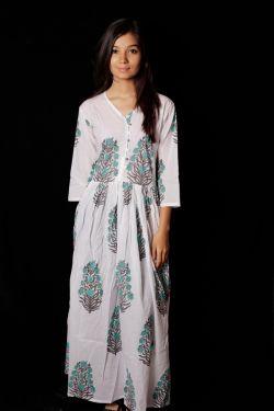 Hand Block Printed Floral Dress - SH-HBPD-W-023