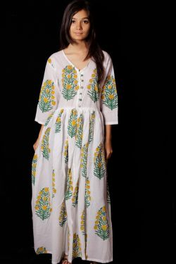 Hand Block Printed Floral Dress - SH-HBPD-W-024