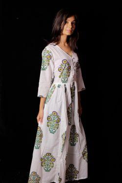 Hand Block Printed Floral Dress - SH-HBPD-W-025